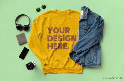 Composición de maqueta de chaqueta de jean de sudadera