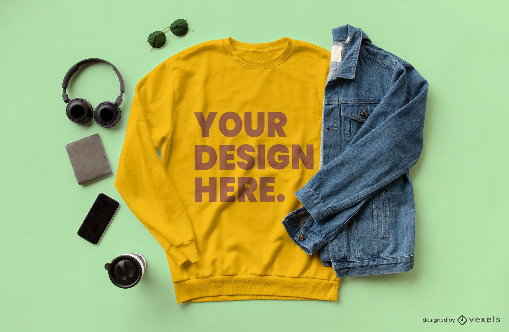 Sweatshirt jean jacket mockup composition