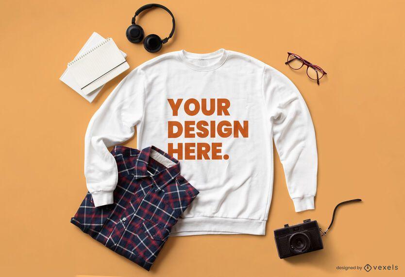 Sweatshirt camera mockup composition