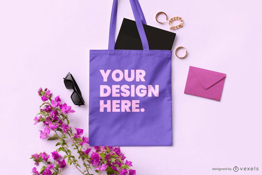Composición de maqueta de bolso de mano floral