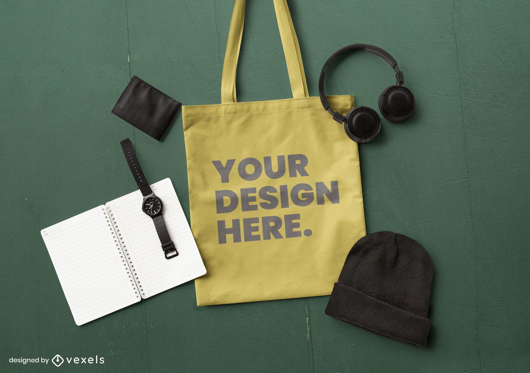 Tote bag urban mockup composition