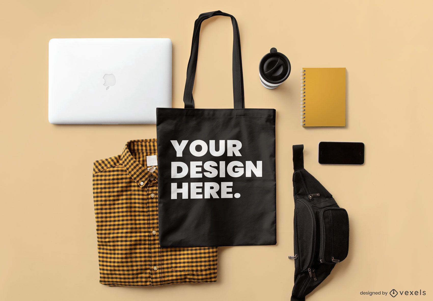 Laptop tote bag mockup composition