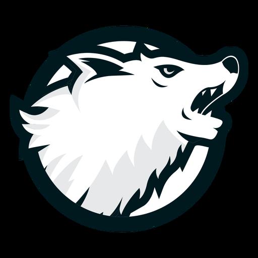 Logotipo do círculo do lobo irritado