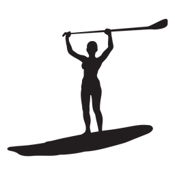 Arms up stand up paddleboarding silhouette