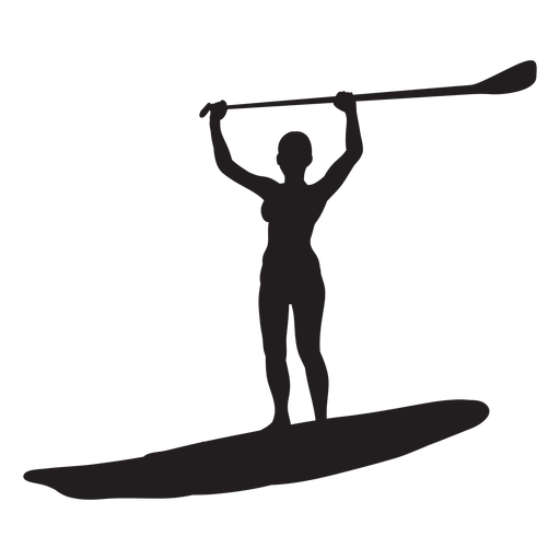 Arms up stand up paddleboarding silhouette Transparent PNG