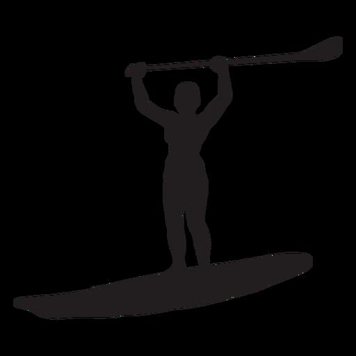 Brazos en alto silueta de surf de remo