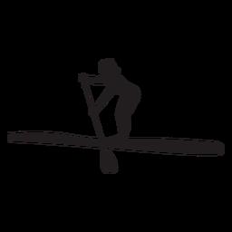 Silhueta do stand up paddleboarding