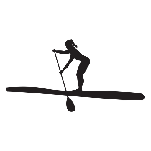 Bending stand up paddleboarding silhouette Transparent PNG