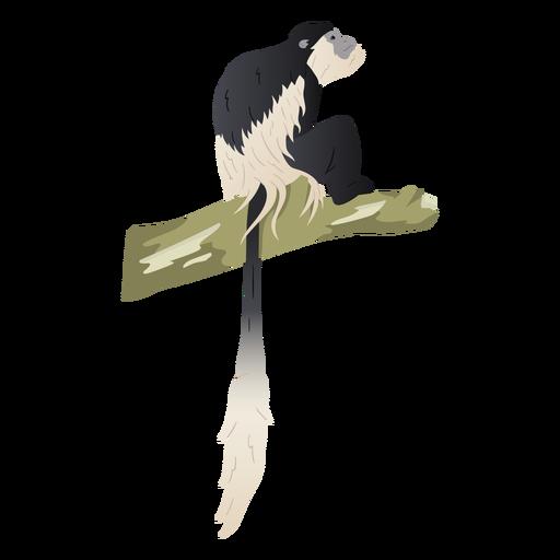 Ilustração de colobo em preto e branco