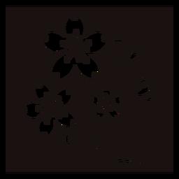 Botanic flower sprouts stencil