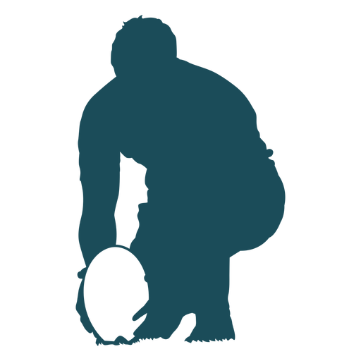 Close up kicking rugby silhouette Transparent PNG