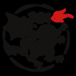 Logotipo de silueta de fuego de dragón
