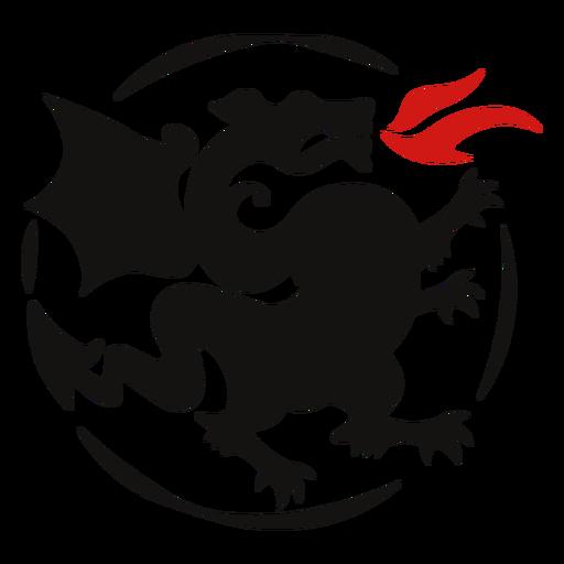 Dragon fire silhouette logo Transparent PNG