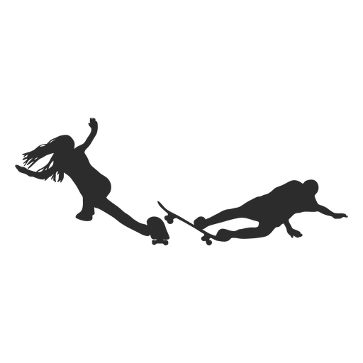 Female male skater crash silhouette