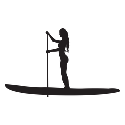 Silueta femenina de stand up paddleboarding