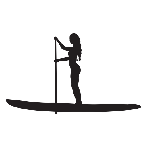 Female stand up paddleboarding silhouette Transparent PNG