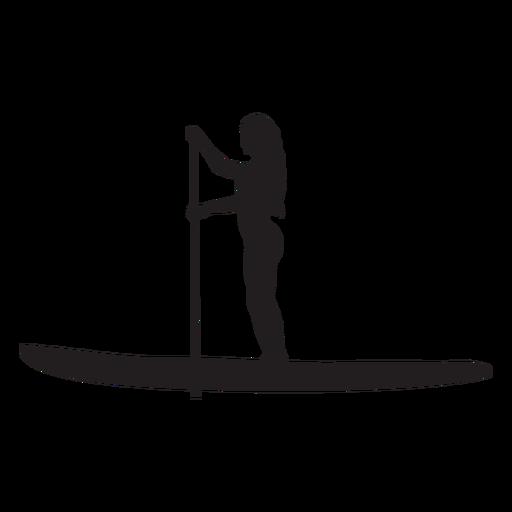 Silueta femenina de stand up paddleboarding