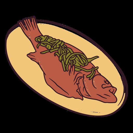 Ilustración de pescado rosh hashaná