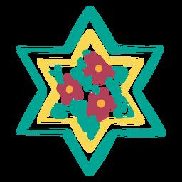 Estrella floral de david doodle