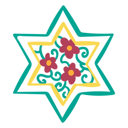 Floral star of david doodle