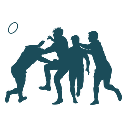 Four rugby players silhouette