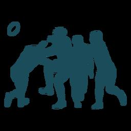 Silhueta de quatro jogadores de rugby