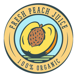 Fresh peach juice organic label