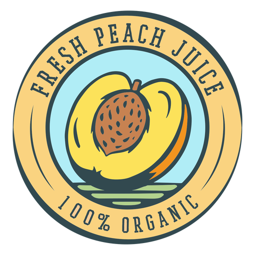 Fresh peach juice organic label