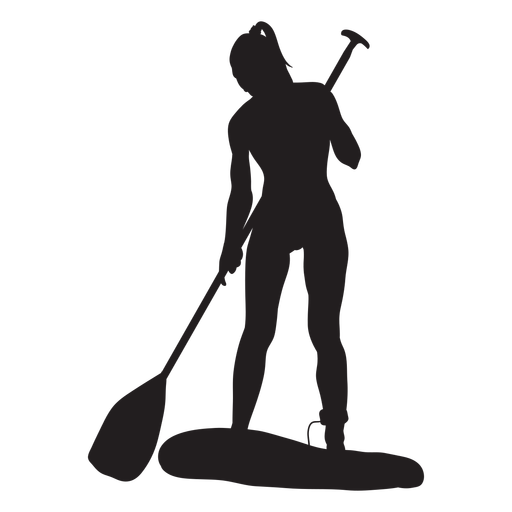Chica stand up paddleboarding silueta