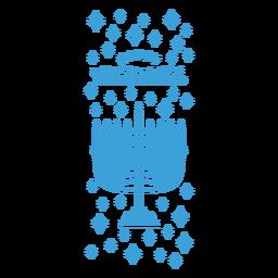 Emblema com letras de menorah de Hanukkah