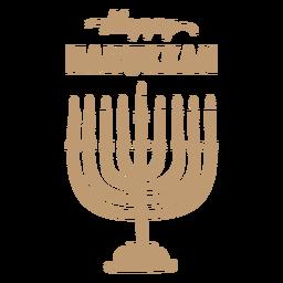 Distintivo de menorah feliz hanukkah