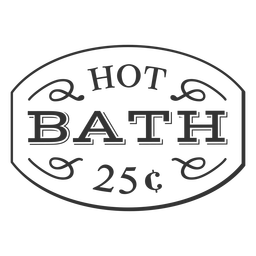 Hot bath 25c vintage label