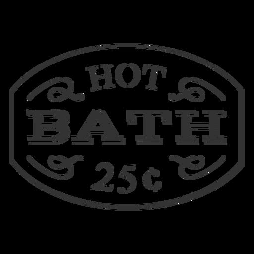 Etiqueta vintage baño caliente 25c