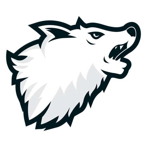 Logotipo do lado do lobo uivante