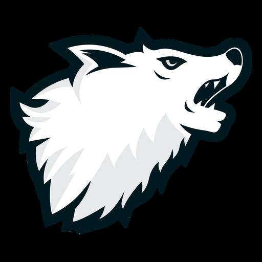 Logotipo lateral de lobo aullando