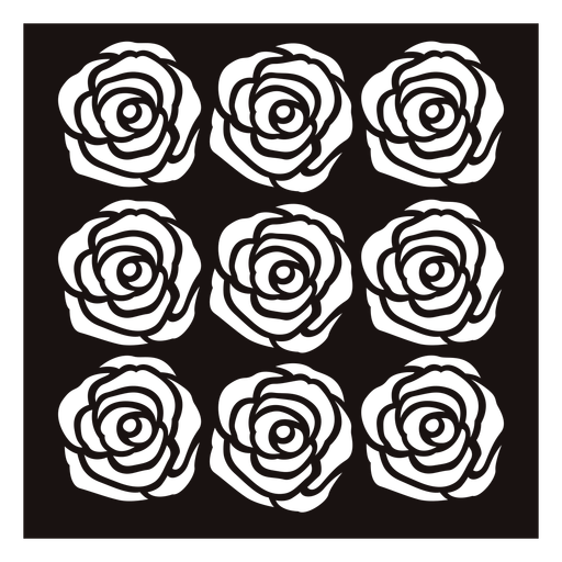 Identical group roses stencil