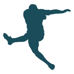 Jump kicking rugby player silhouette