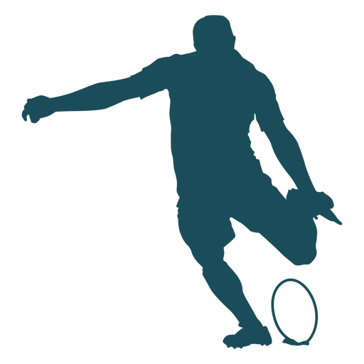 Kicking rugby player silhouette