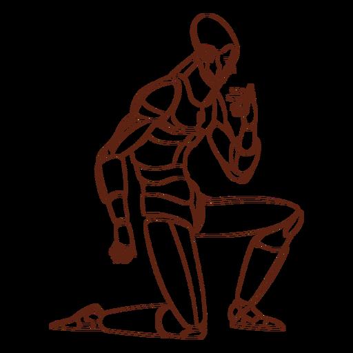 Personaje de Android arrodillado