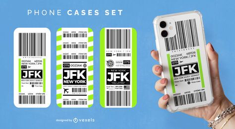Conjunto de capas de telefone para bilhetes de aeroporto