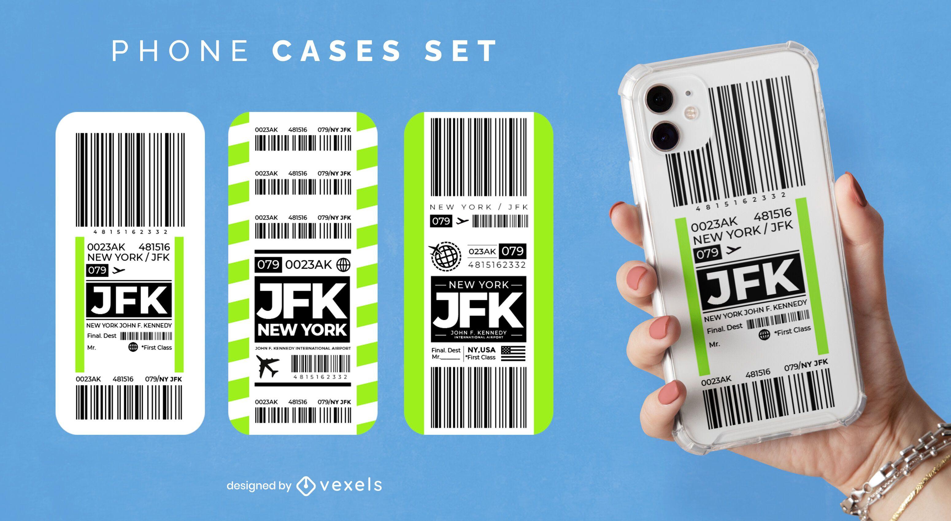 Juego de cajas de tel?fono para boletos de aeropuerto