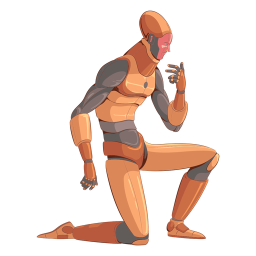 Kneeling android illustration character Transparent PNG