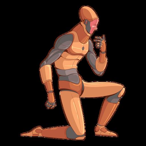 Personaje de ilustración de android arrodillado