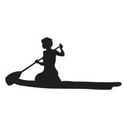 Kneeling stand up paddleboarding silhouette