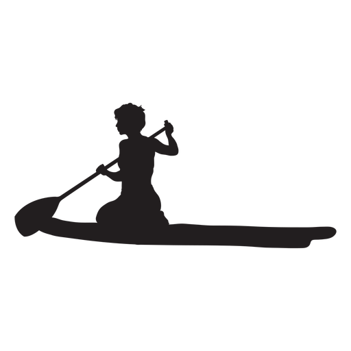 Kneeling stand up paddleboarding silhouette Transparent PNG