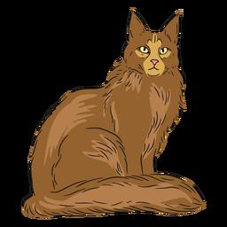 Ilustración de maine coon sentado