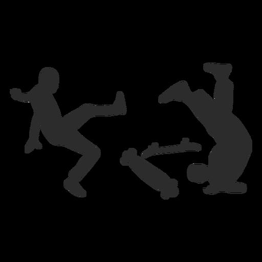 Silueta de accidente de patinadores masculinos