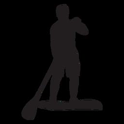 Silueta masculina de stand up paddleboarding