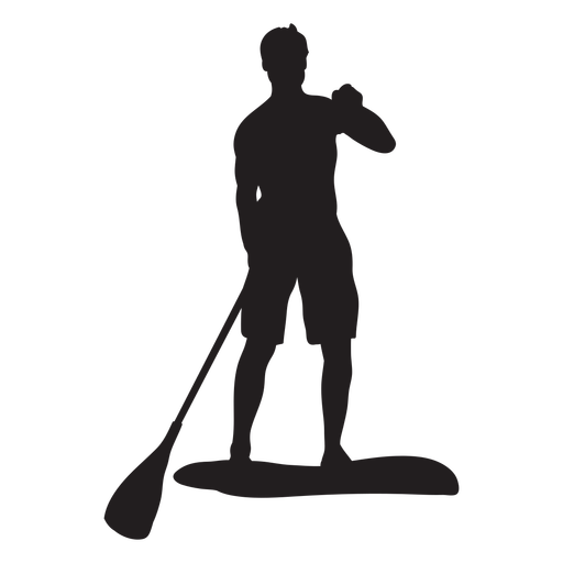 Male stand up paddleboarding silhouette Transparent PNG