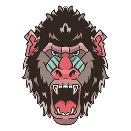 Mandrill face illustration